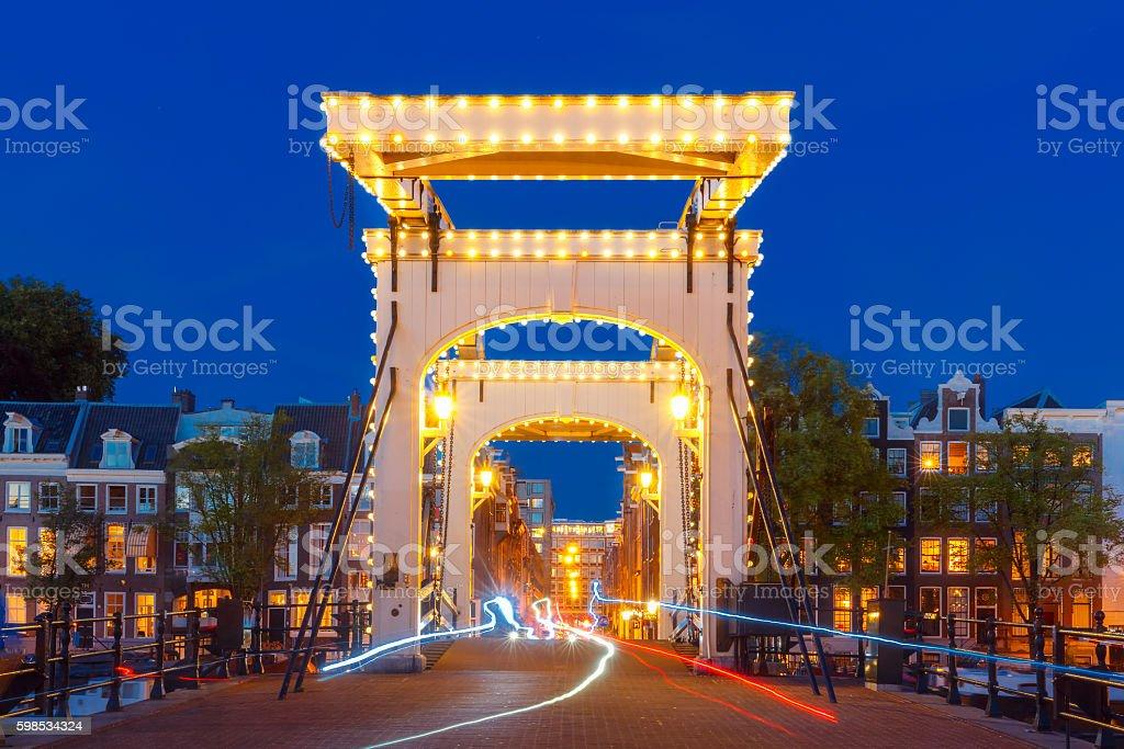 Magere Brug, Skinny bridge, Amsterdam, Netherlands stock photo