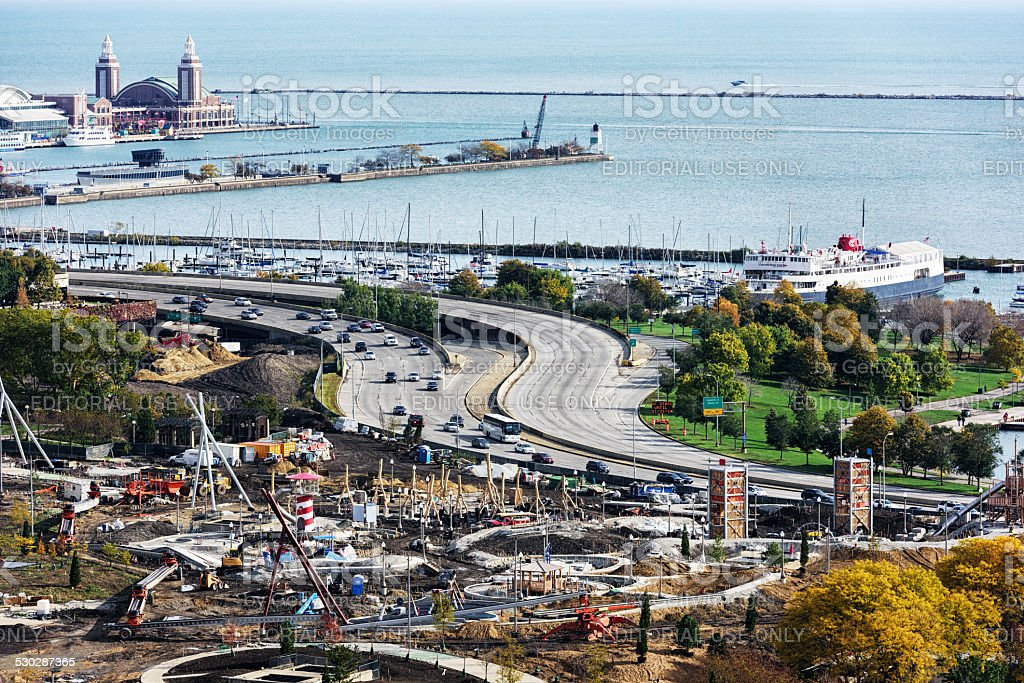 Maggie Daley Park under construction and Lake Michigan, Chicago stock photo