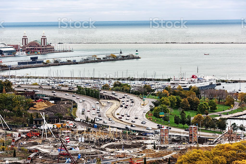 Maggie Daley Park under construction and Lakeshore Drive, Chicag stock photo