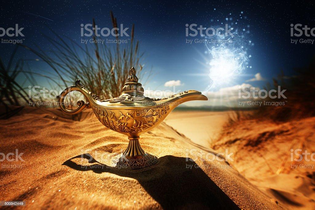 Magic Aladdins Genie lamp stock photo