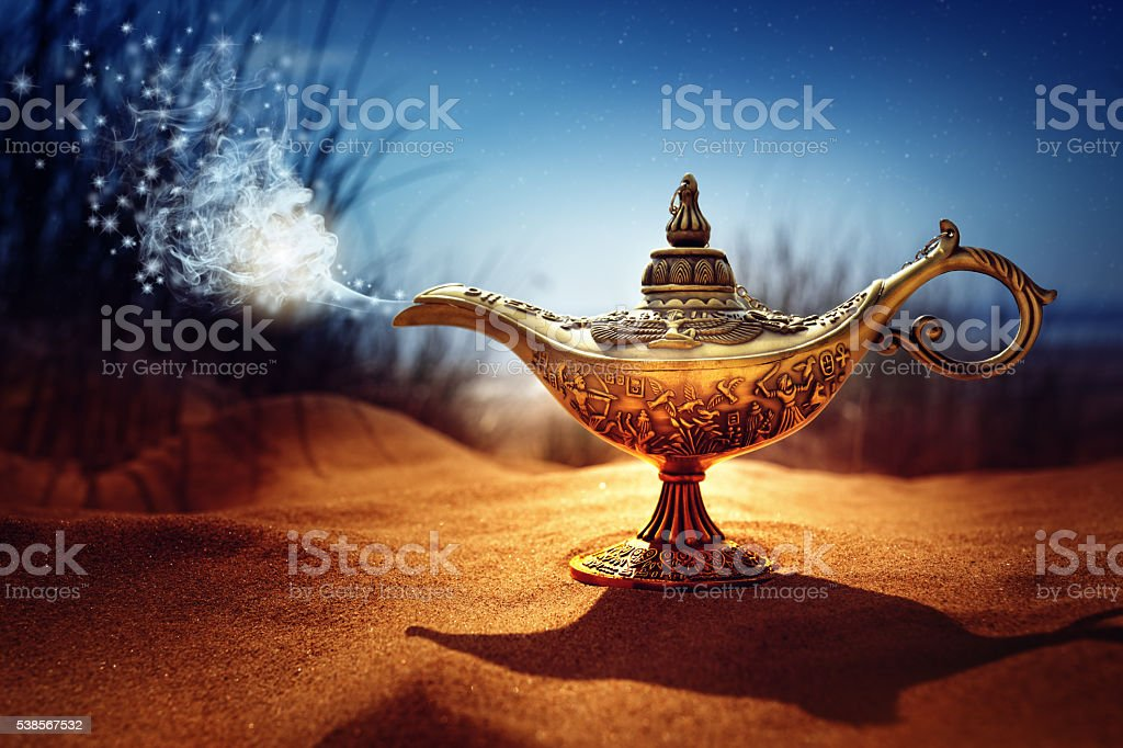 Magic Aladdins Genie lamp stock photo