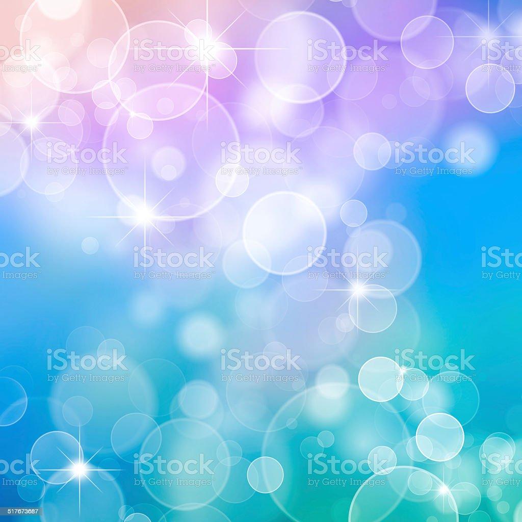 Magic blue bubbles and glitters stock photo