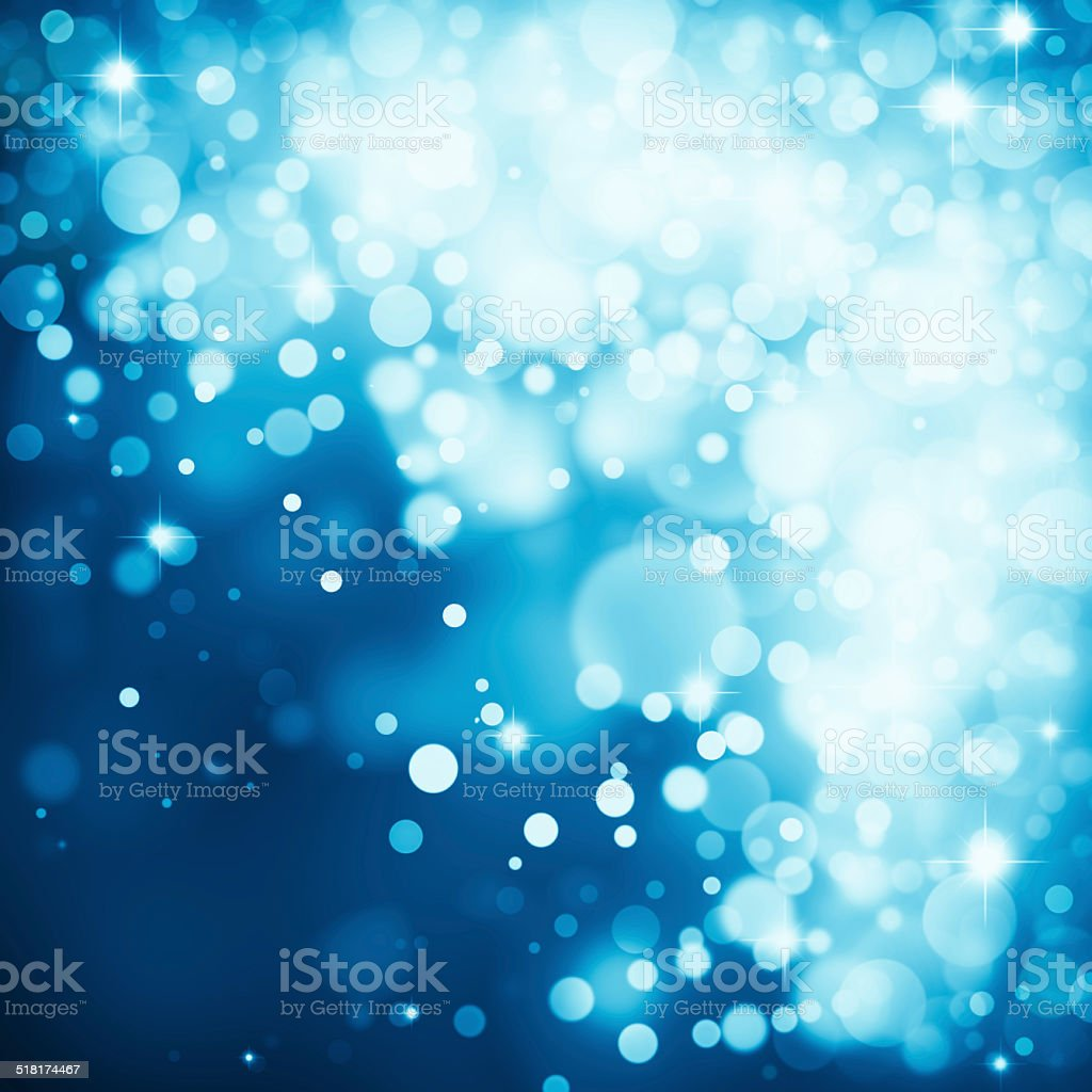 Magic blue bubbles and glitters stock photo