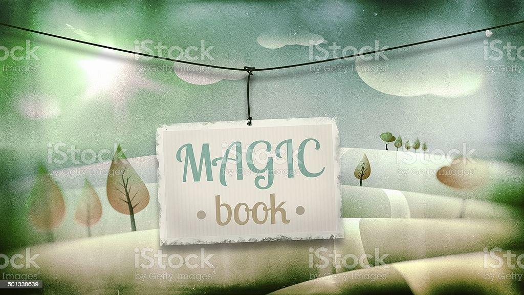 Magic book, vintage children illustration royalty-free stock photo
