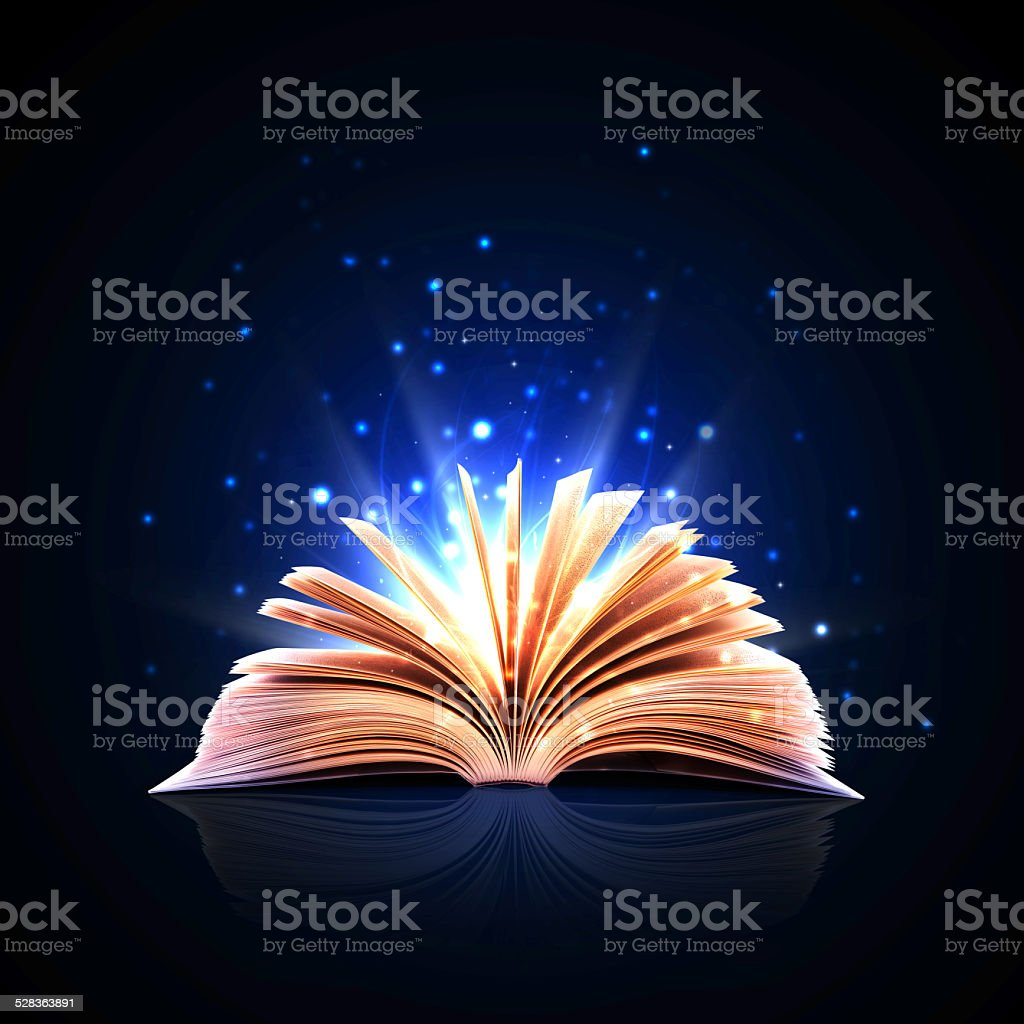 Magic book with magic lights vector art illustration