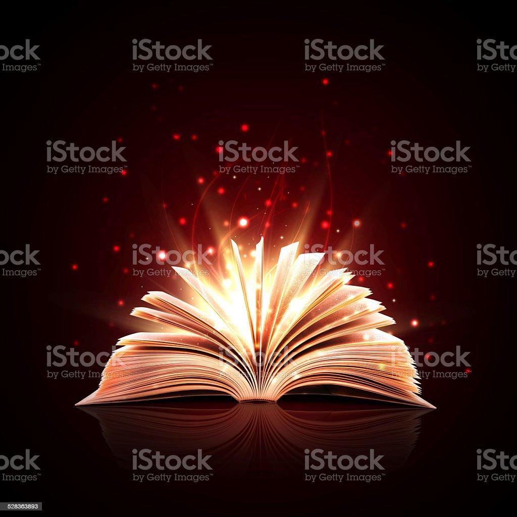 Magic book with magic lights stock photo