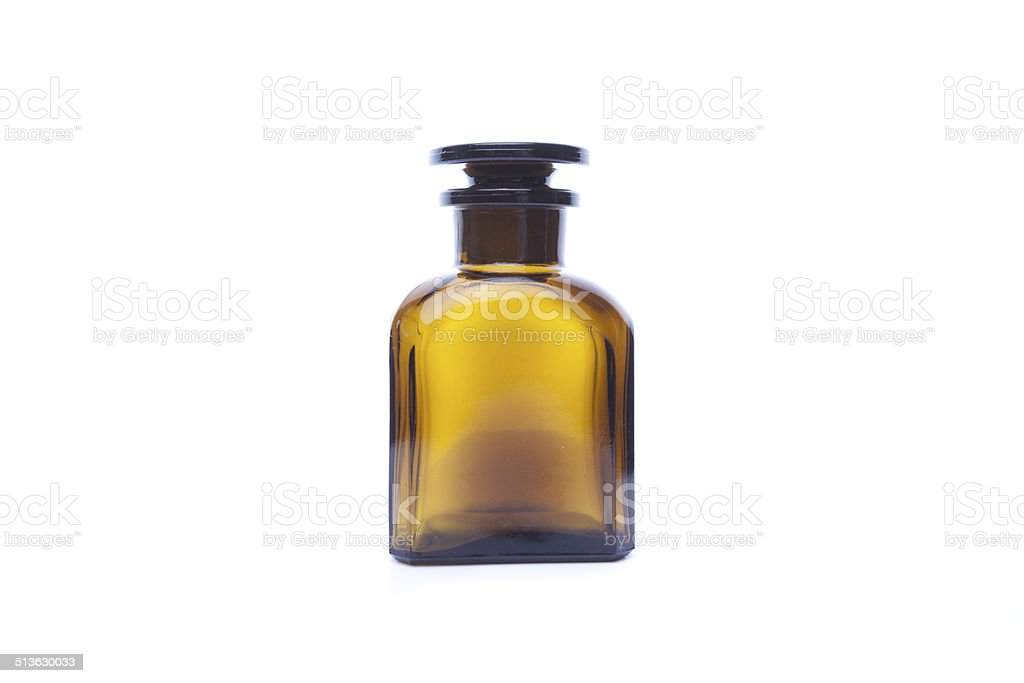 Magic bottle for potions isolated on white background stock photo