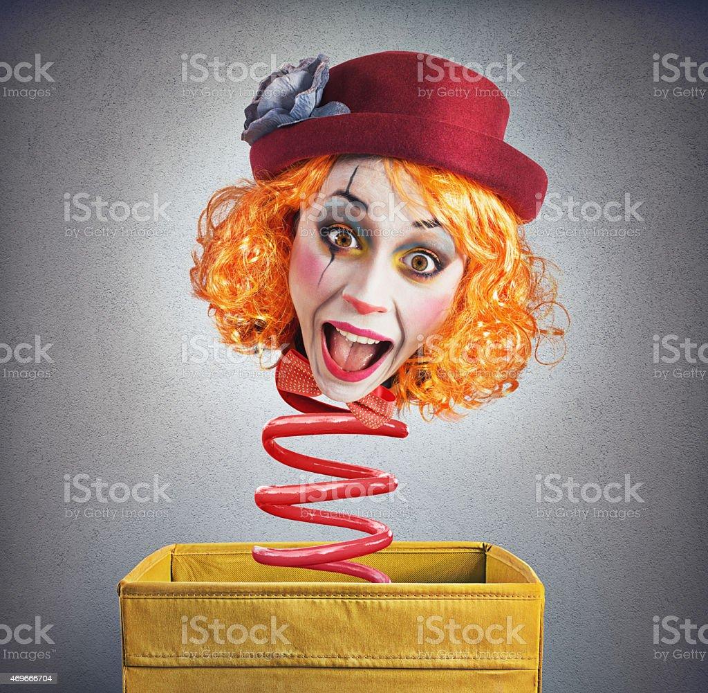 Magic box clown stock photo