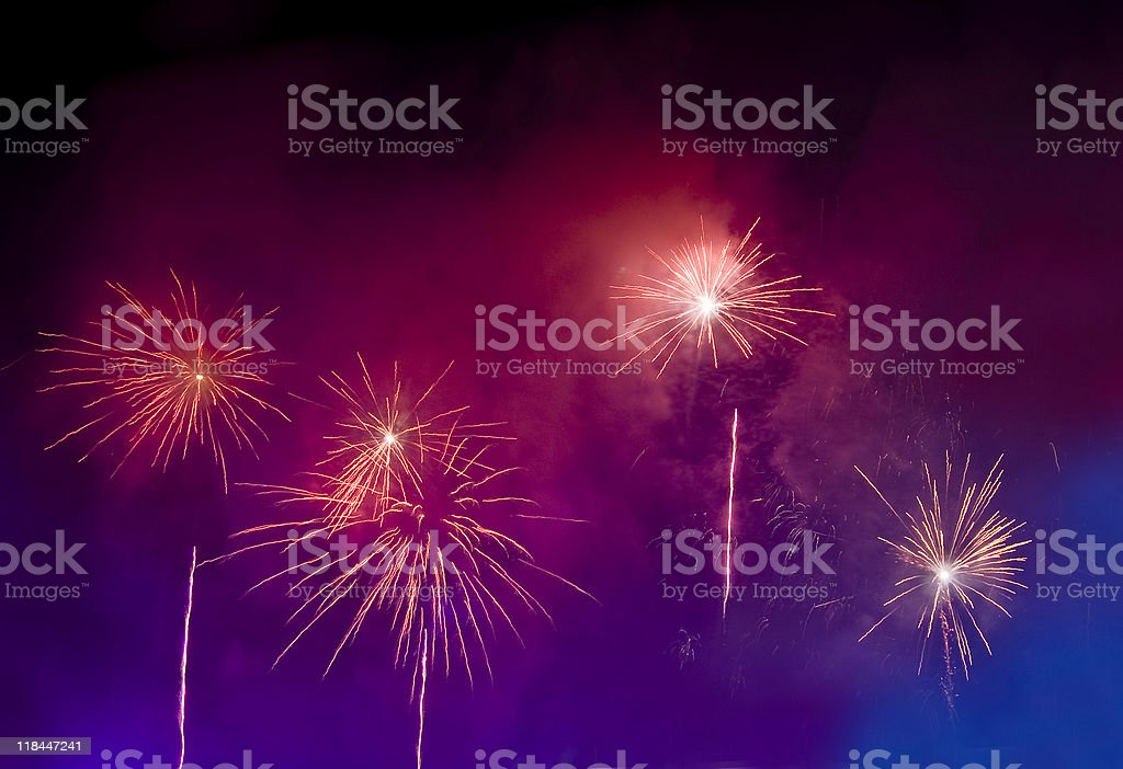 Magic bright Fireworks in the lilac and blue royalty-free stock photo
