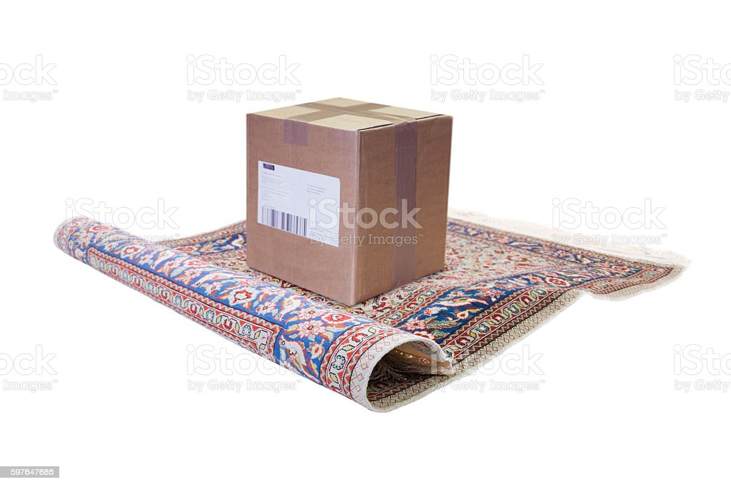 magic carpet delivering parcel stock photo