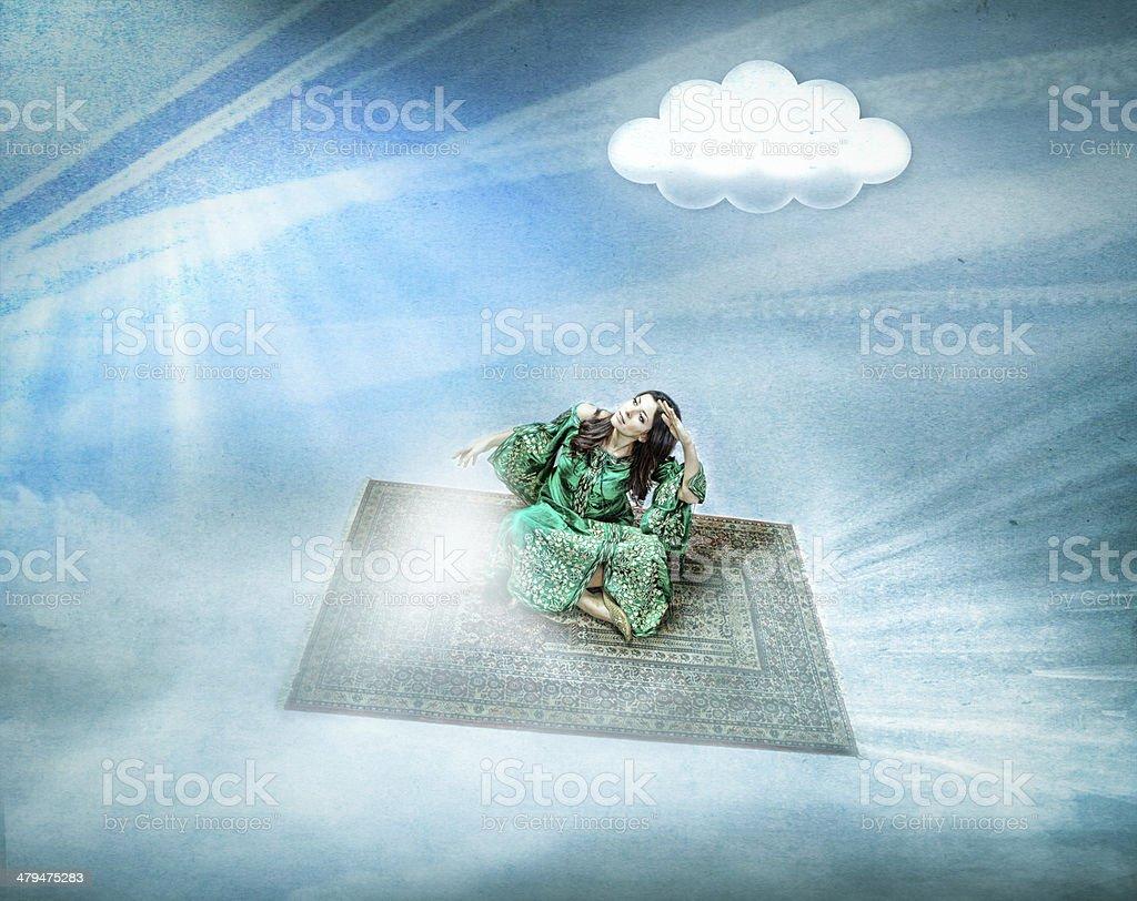 magic carpet for an arab woman stock photo