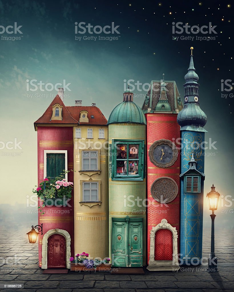 Magic city with books stock photo
