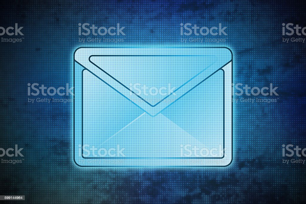 magic email on blue shiny pixel grid screen modern technology stock photo