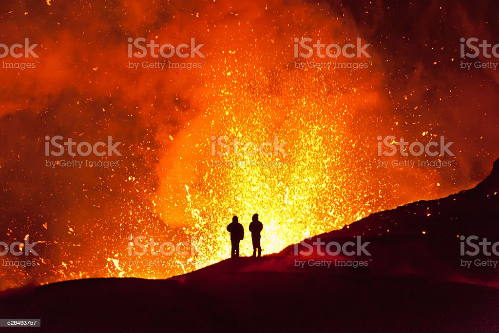 Magic fire. Kamchatka stock photo