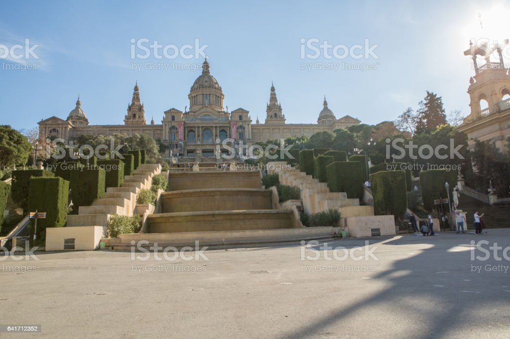 Magic Fountain and Palace of Montjuic, Catalonia, Spain stock photo