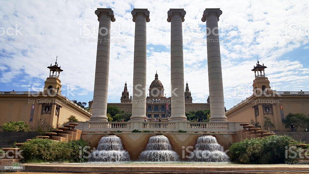 Magic fountain and Palau Nacional Montjuic in Barcelona, Spain. stock photo