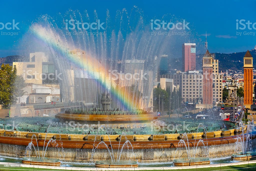 Magic Fountain of Montjuic in Barcelona, Spain stock photo