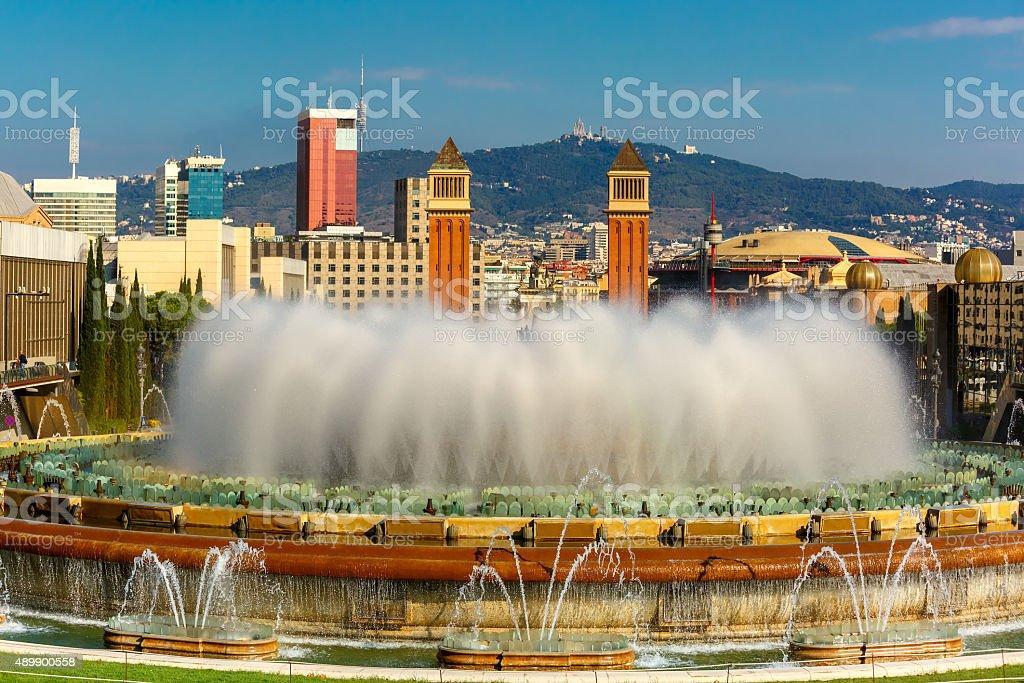 Magic Fountain of Montjuic in Barcelona, Spain stock photo