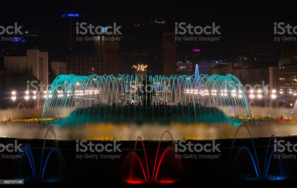 Magic Fountains from Montjuic Barcelona stock photo