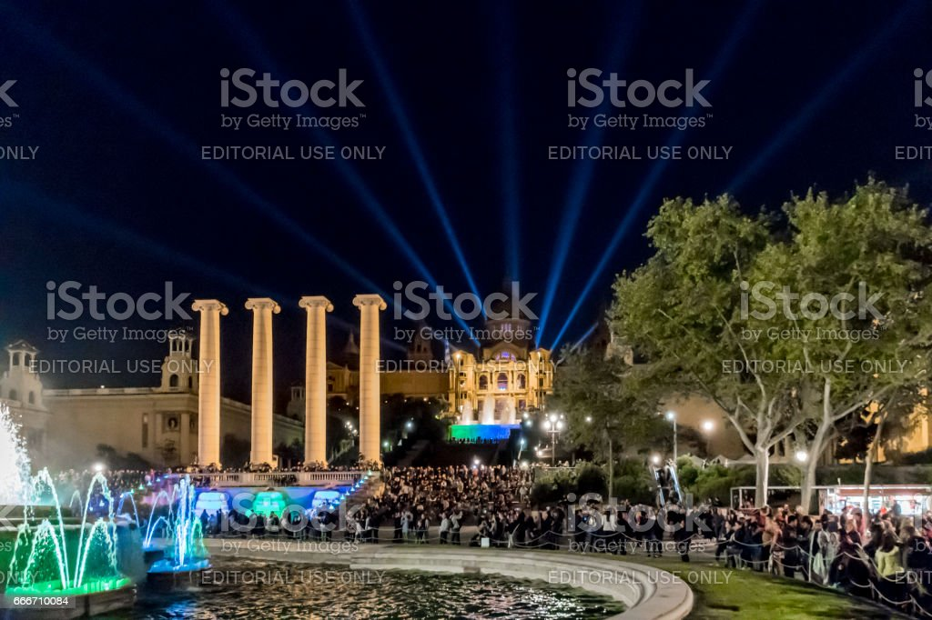 Magic Fountains of Montjuic in Barcelona stock photo