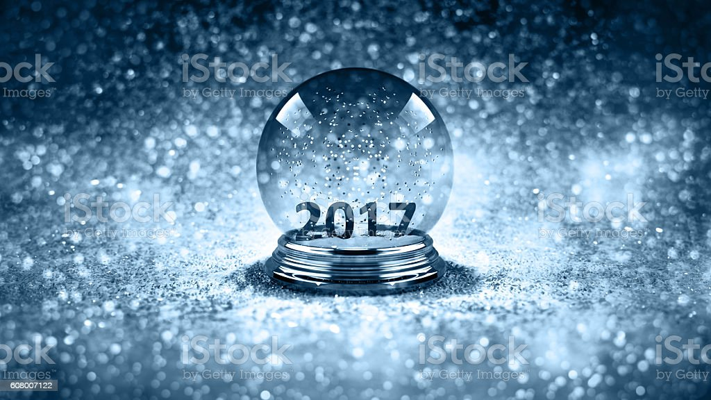 magic glass Christmas ball 2017 stock photo