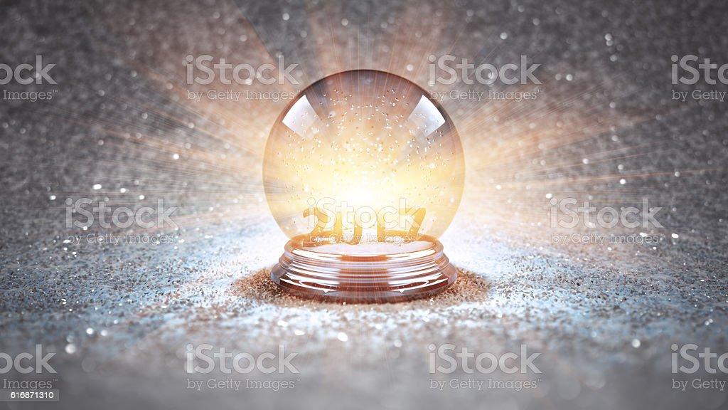 magic glass Christmas ball 2017 stock photo