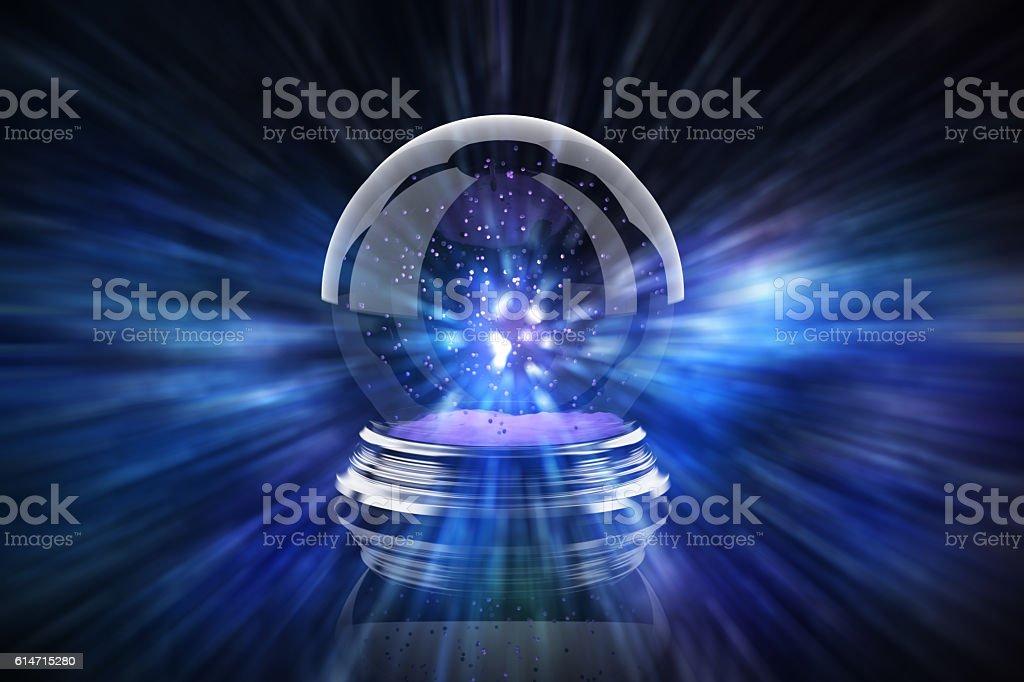 magic glass Christmas ball with bokeh stock photo