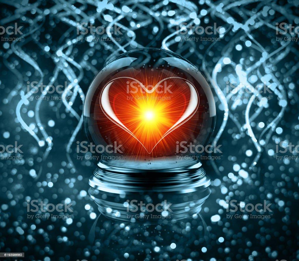 magic glass Christmas ball with heart stock photo