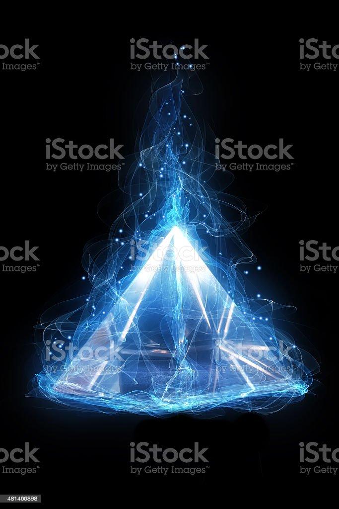 Magic glass pyramid stock photo