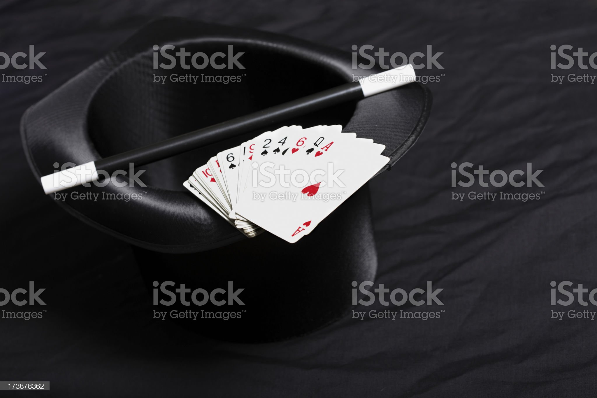 Magic Hat, Cane and Cards royalty-free stock photo