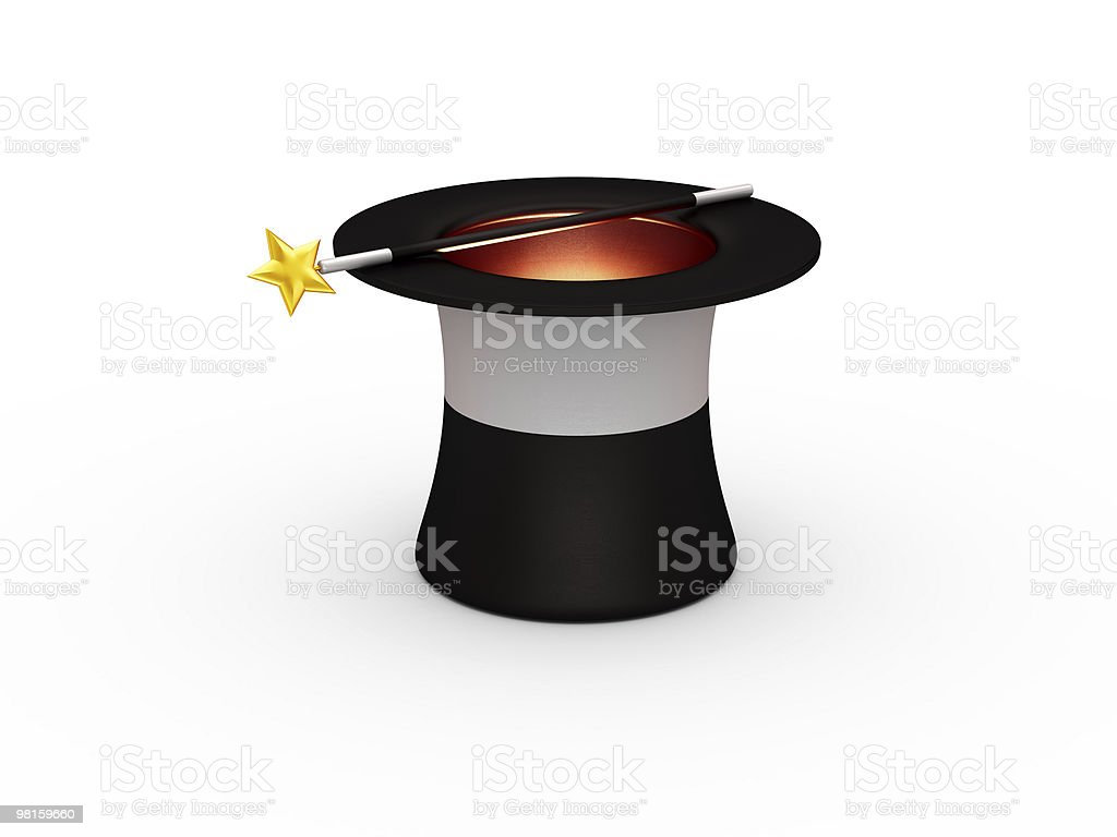Magic hat with a wand royalty-free stock photo
