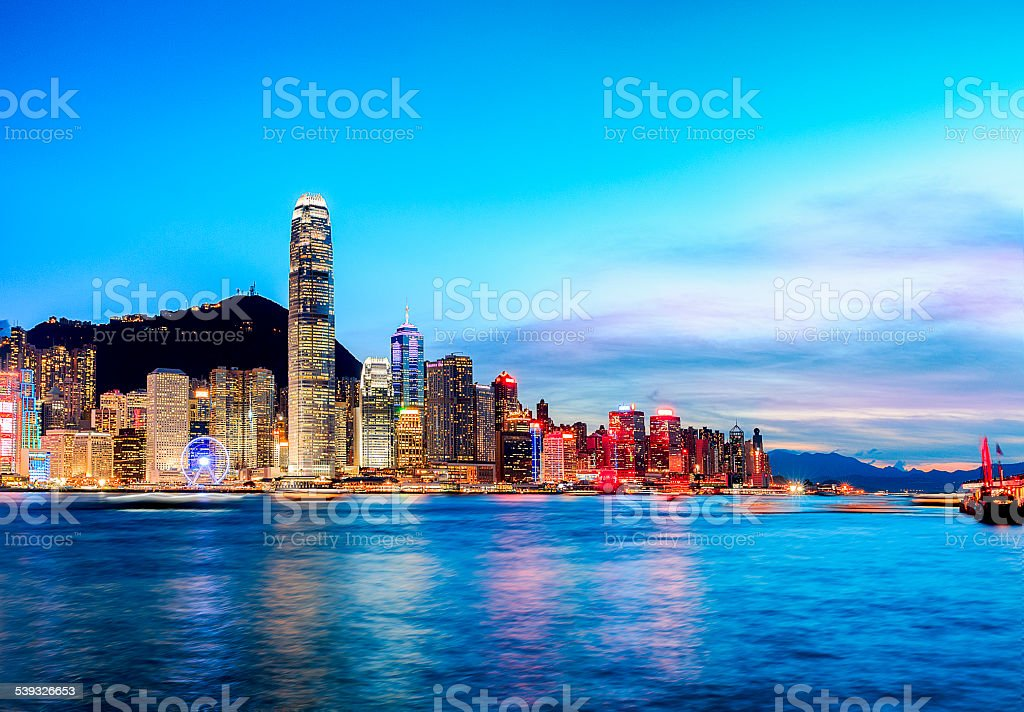 Magic Hongkong Victoria Harbour stock photo