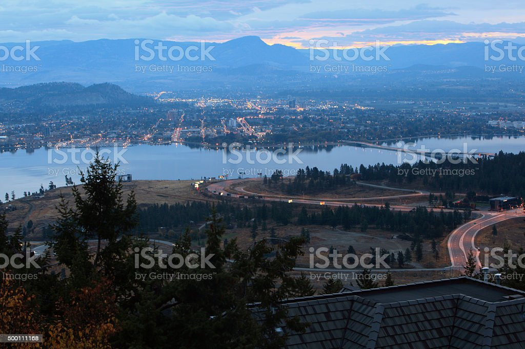 Magic Hour Light Over Kelowna BC stock photo