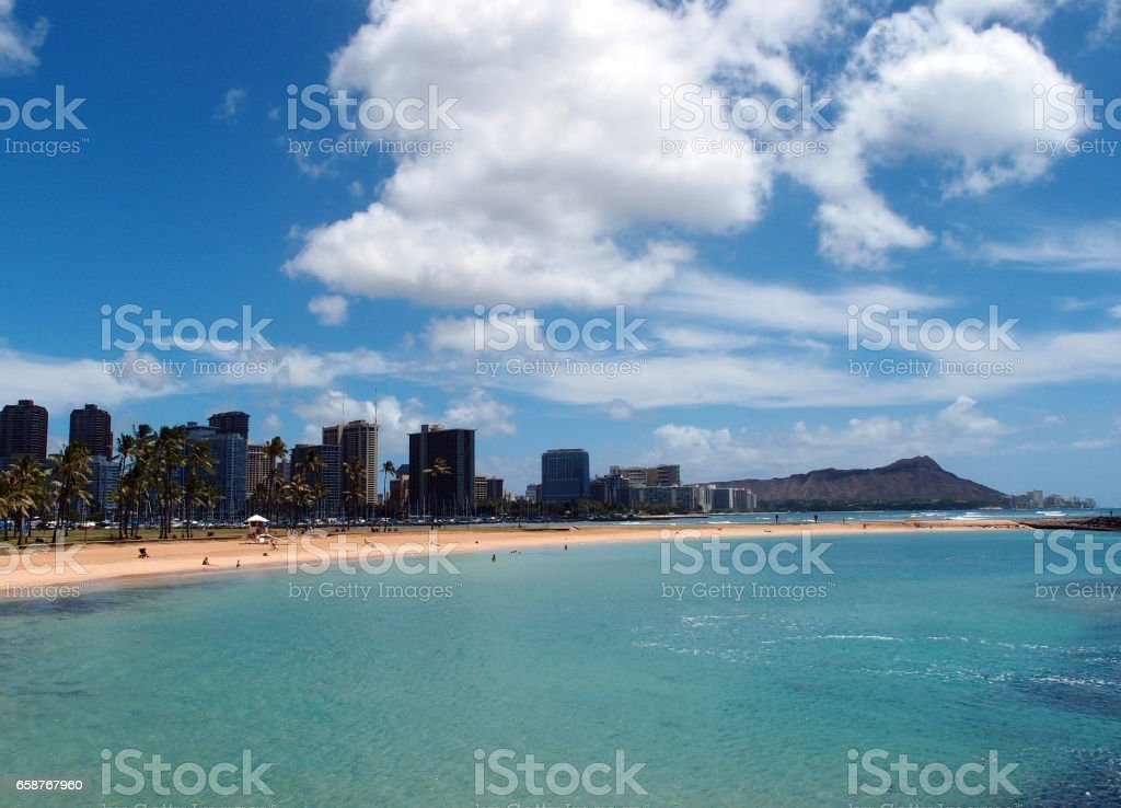 Magic Island Beach and Diamond Head stock photo