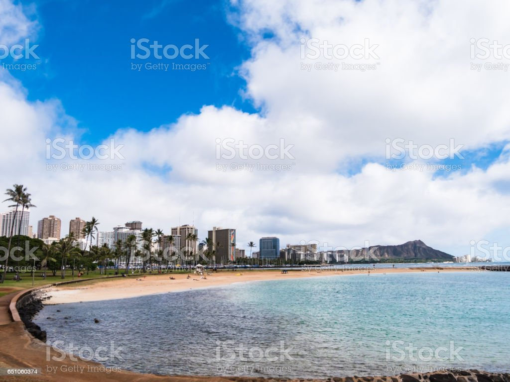 Magic Island Lagoon at Ala Moana Beach Park, Waikiki, Honolulu, Oahu Island, Hawaii, USA stock photo