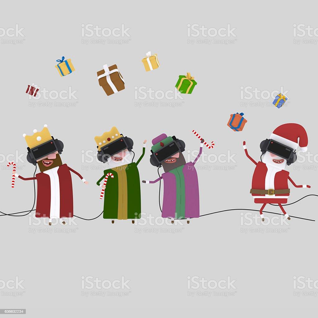 Magic kings and Santa Claus playing virtual reality game. stock photo