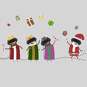 Magic kings and Santa Claus playing virtual reality game.