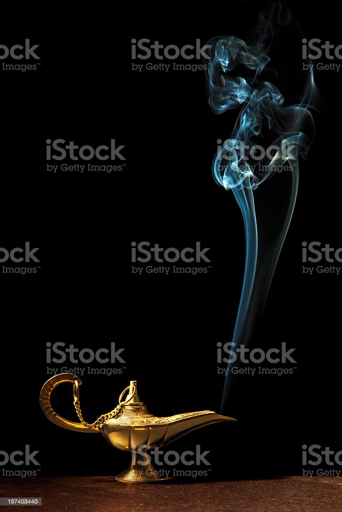 Magic Lamp And Genie stock photo