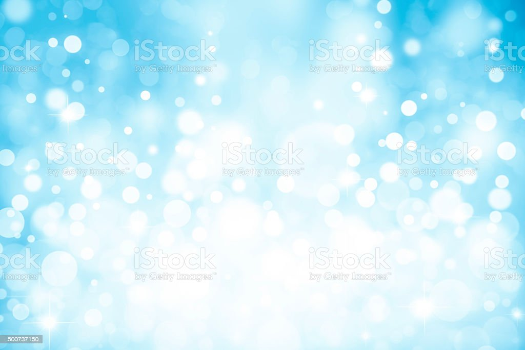 Magic light blue bubbles and white and glitters stock photo