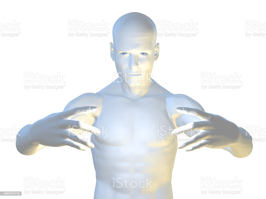 Magic man in hypnotic pose royalty-free stock photo