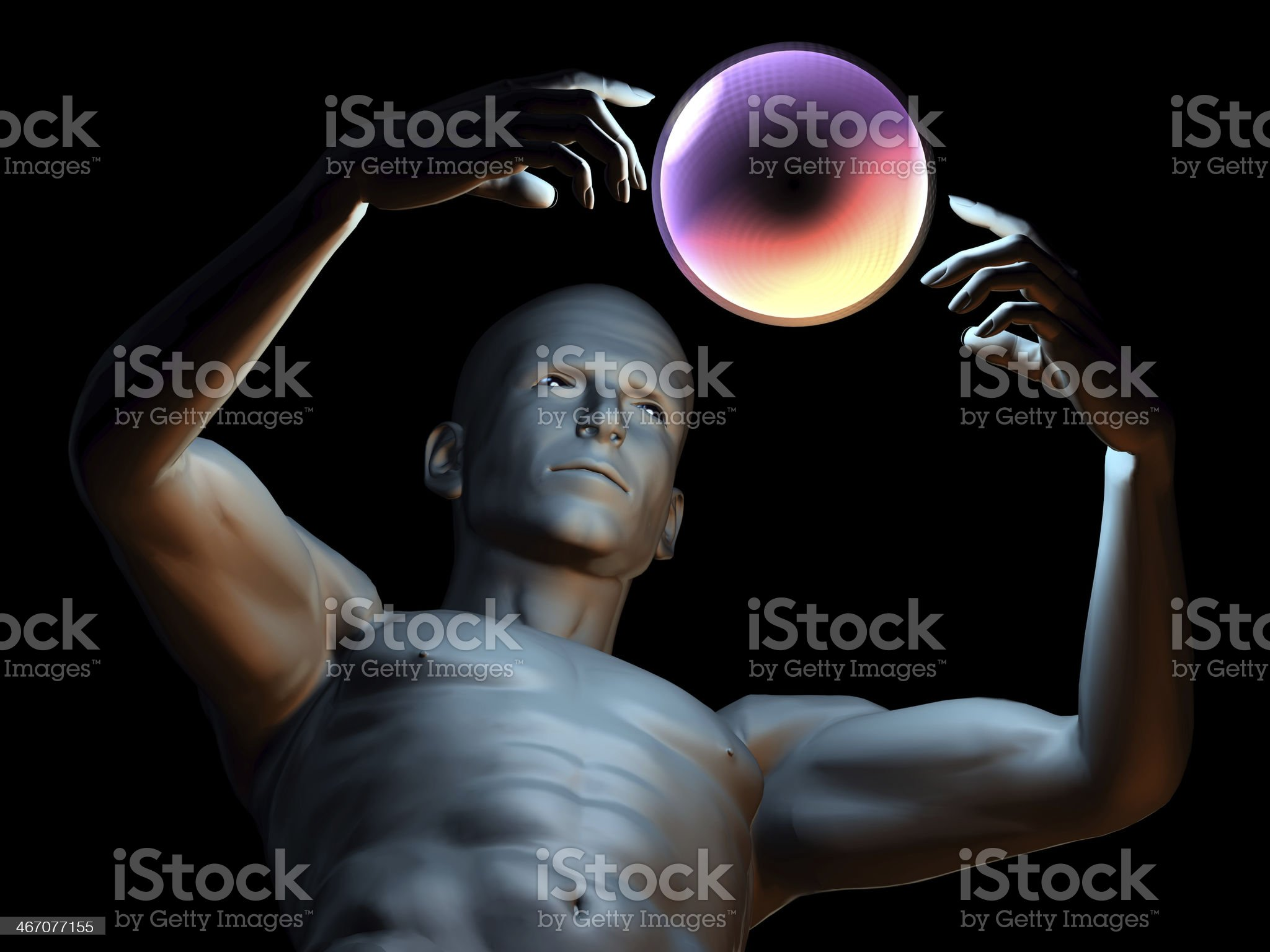 Magic man with hypnotic ball royalty-free stock photo