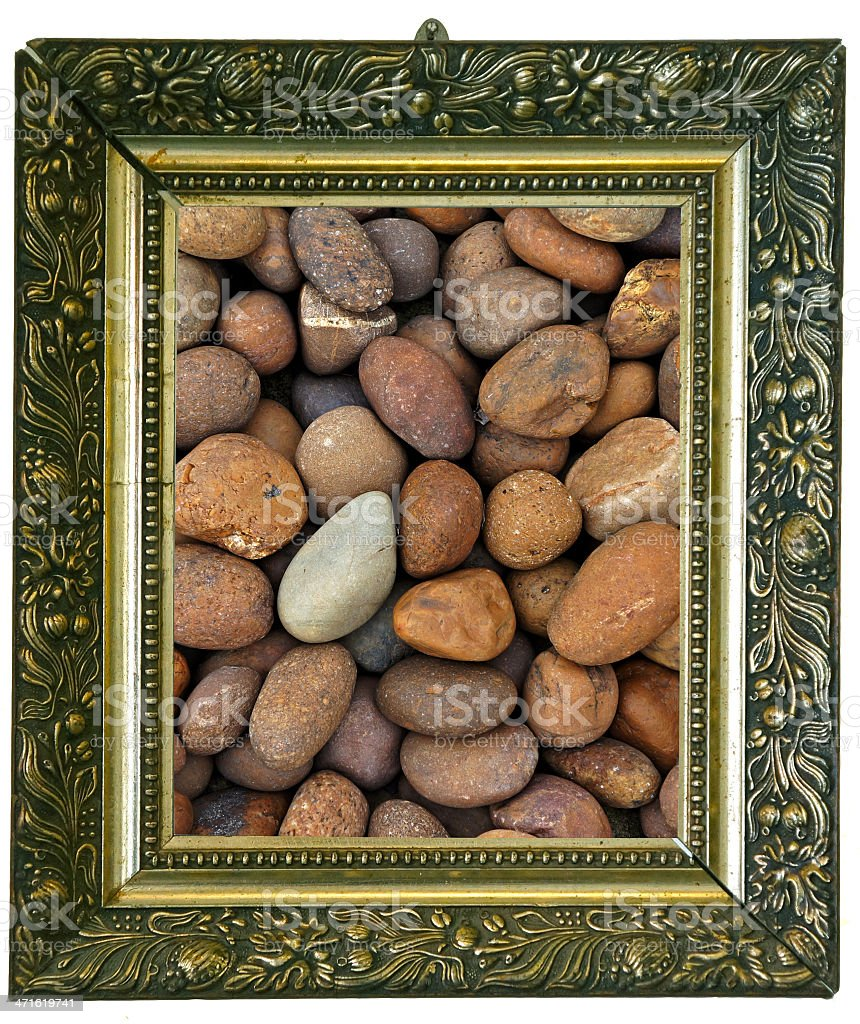 Magic mirror with rounded stones royalty-free stock photo