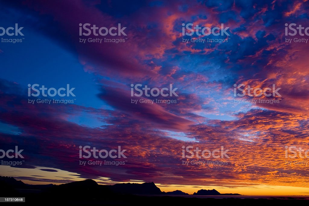 Magic sunset in northern Norway royalty-free stock photo