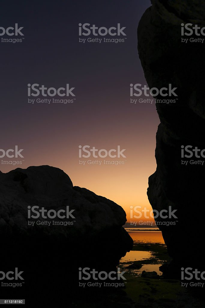 Magic sunset in the island at Flores sea, Indonesia stock photo