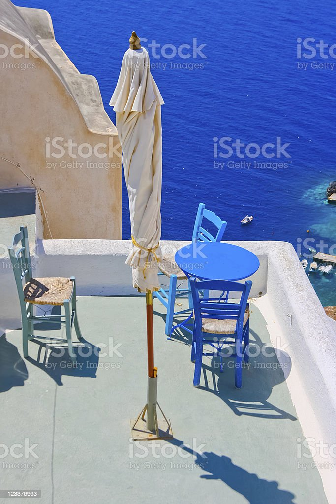 Magic terrace in Santorini with Caldera view royalty-free stock photo