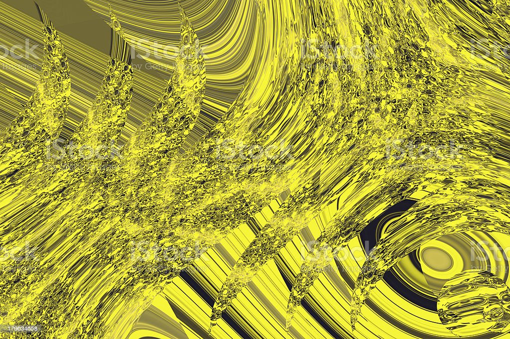 Magic tracks background - yellow liquid glass reflection. royalty-free stock photo