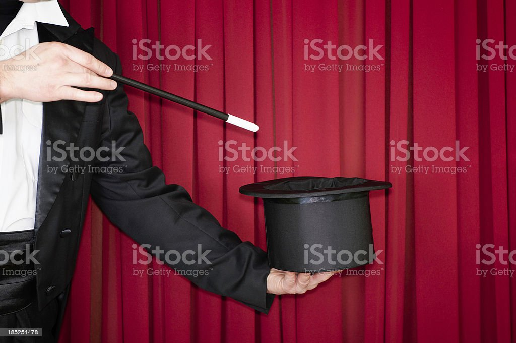 Magic trick on stage stock photo