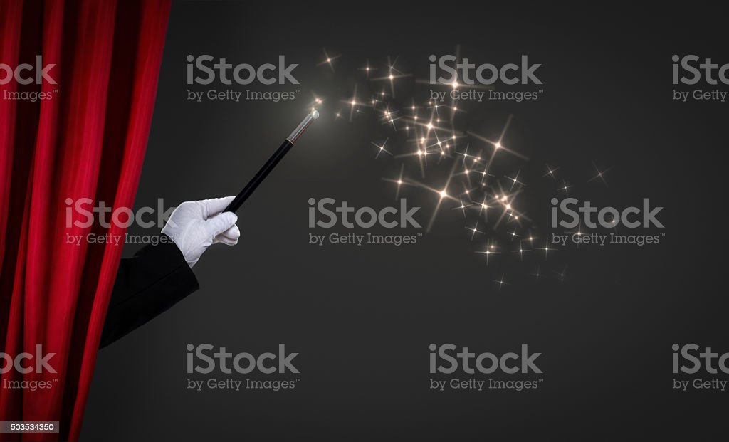 magic wand on stage stock photo