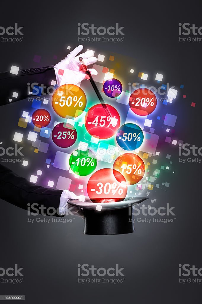 magic wand with discounts stock photo