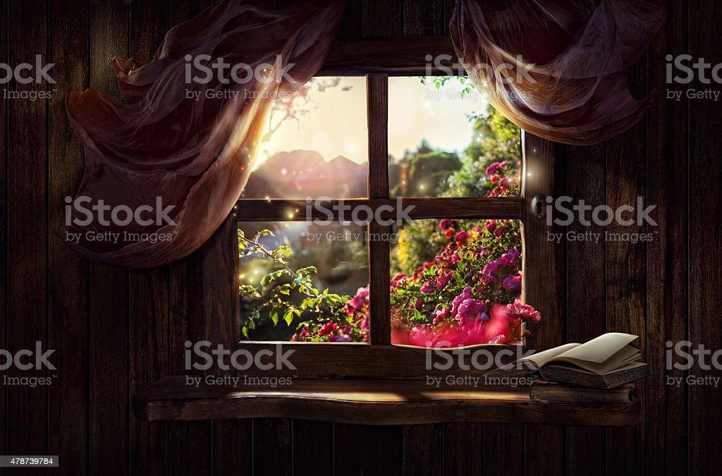 Magic window with fairy garden stock photo